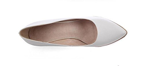 Womens Pointed toe Chaussures confortables Wedge talon solide couleur chaussures peu profonde bouche cour , white , 38