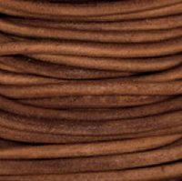 #409 Premium Natural Dye Light Brown Round Leather Cord 0.5mm x 50m by NTP