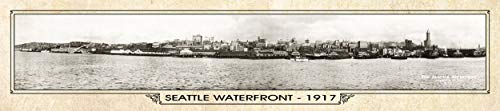Vintage Panorama Metal Print - Seattle 1917, Seattle Waterfront, Historic Washington State, Historic Seattle Map Sign, Vintage Seattle Map