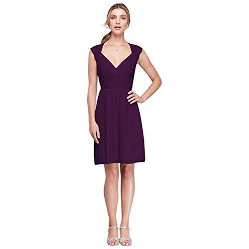 - David's Bridal Mesh Bridesmaid Dress with Lace Sleeves and Keyhole Back Style F19442, Plum, 4