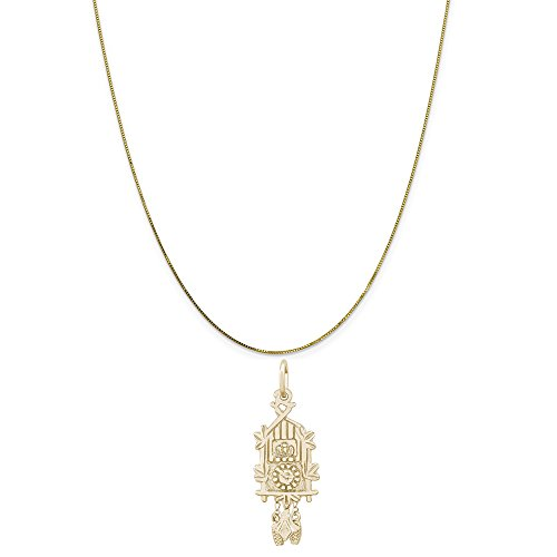 - Rembrandt Charms 14K Yellow Gold Cuckoo Clock Charm on a 14K Yellow Gold Box Chain Necklace, 16