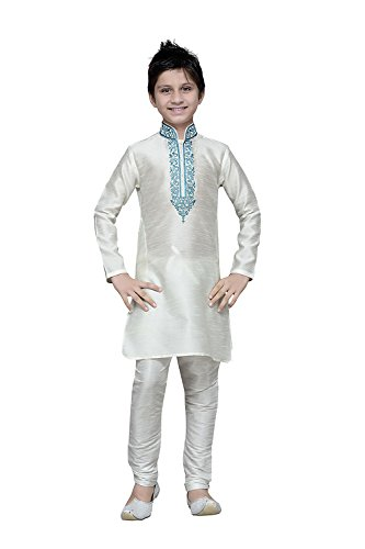 Da Facioun Indian Designer Partywear Ethnic Wedding White Wedding Readymade Kids by Da Facioun