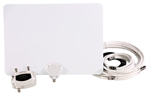 Channel Master Amplified FLATenna Duo Indoor TV Antenna White Coaxial Cable Bundle - 50 Mile Range