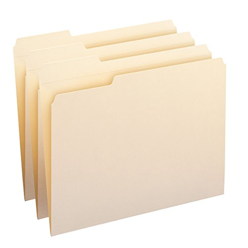 Position Top Tab Letter (Smead File Folder, Reinforced 1/3-Cut Tab Left Position, Letter Size, Manila, 100 Per Box (10335))