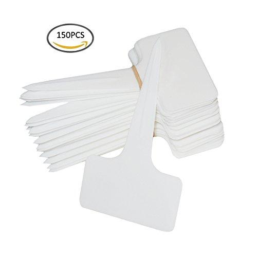 SOUBUN 150pcs 6 x10cm Plastic Waterproof T-type Tags Plant Markers - Premium Nursery Garden Labels - Eco Friendly – White by SOUBUN