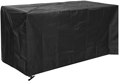 ガーデンテーブル カバー 表カバー防水カバーダブルニードルステッチやエッジングダイニング屋外パティオの家具カバー長方形ガーデンラタン 防水 防塵 多機能 家具カバー (色 : Black, Size : 170x94x70cm)