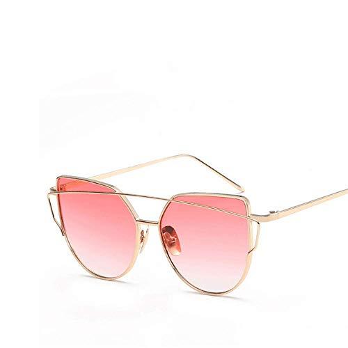 métal en UV400 Gold Soleil Cat Monture Sakuldes Light Color Gold de Lunettes Yellow Eye à Pink 4YxxqXa