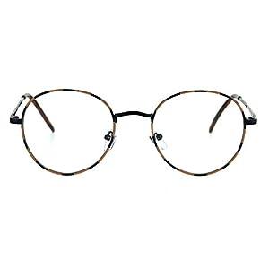 Classic 90s Metal Rim Round Clear Lens Eye Glasses Frame Black Tortoise