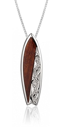 Sterling Silver Koa Wood Surfboard Necklace Pendant with 18