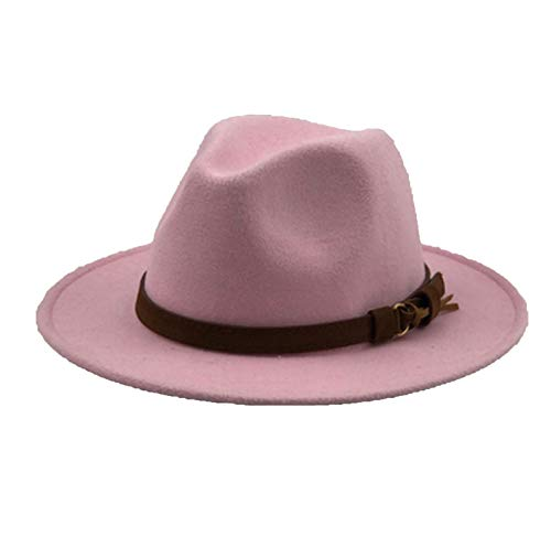 (KKONION Fedora Hats Wool with Leather Ribbon Gentleman Elegant Lady Winter Autumn Wide Brim Jazz Church Pink)