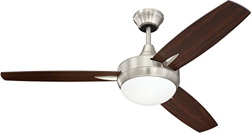 Craftmade 3 Blade Ceiling Fan with Dimmable LED Light and Wall Control TG48BNK3 Targas 48 Inch Bedroom Fan, Brushed Nickel
