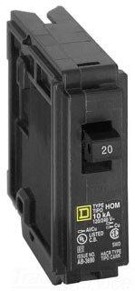 Square D HOM120 Homeline 20 Amp SinglePole Circuit Breaker