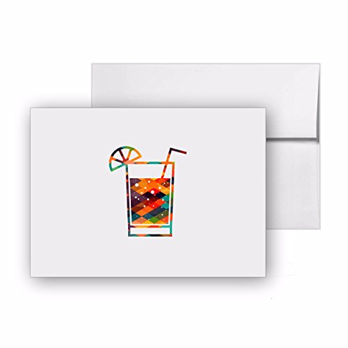 Cocktail Alcohol Drink Beverage Bar, Blank Card Invitation Pack, 15 cards at 4x6, with White Envelopes, Item - Bar Invitation Card 4 Folded