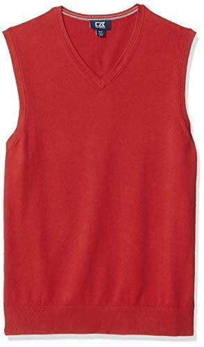 Cutter & Buck Men's Cotton-Rich Lakemont Anti-Pilling V-Neck Sweater Vest, red, XX-Large