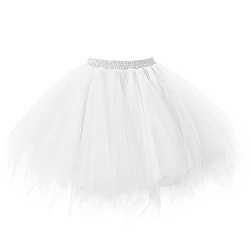 Ellames Women's Vintage 1950s Tutu Petticoat Ballet Bubble Dance Skirt White L/XL