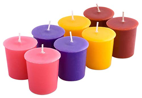 Exquizite Scented Votive Candles Gift Set - 8 pcs - Highly Scented Long Lasting Candles with 15 Hour Burn time - Lavender, Sweet Pea, Coconut Pineapple Cream and Pumpkin Spice, 2 Votives per Fragrance
