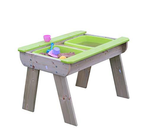 Activiteitentafel voor spelen met zand en water   Picknicktafel met 2 uitneembare kommen   Kinderen staan tafel met…