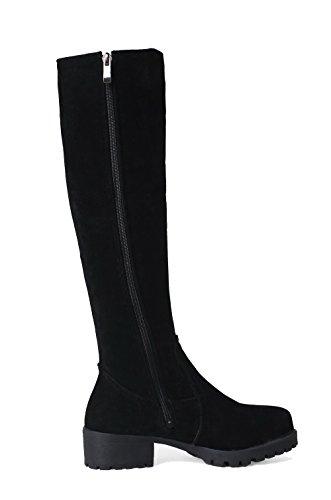 D'orteil Bottes Ageemi Shoes Femme À Élevé Suede Blanc Bas Talon Haut Zip Fermeture RqB1qnfxw