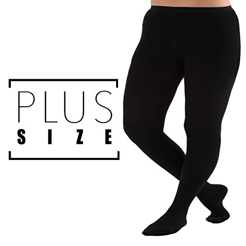 3XL Plus Size Compression Pantyhose, Opaque Graduated Support Hose Stockings - 20-30mmHg Graduated Medical Compression, Closed Toe - Absolute Support Brand, A204BL6 (Black, XXX-Large) ()