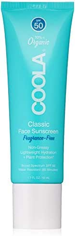 COOLA Organic Classic Daily Face Sunscreen, Broad Spectrum SPF 50, Daytime Lotion + Sunscreen, Sheer Lightweight Finish, Water Resistant, Reef Friendly