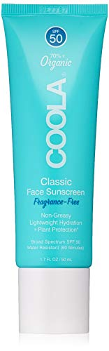 COOLA Organic Classic Daily Face Sunscreen Broad Spectrum SPF 50 Daytime Lotion Sunscreen Sheer Finish Lightweight Water Resistant Reef Friendly