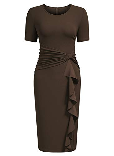 AISIZE Women's 50s Vintage Ruffle Draped Short Sleeve Bodycon Cocktail Knee Dress Brown