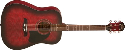 Oscar Schmidt OG2 Dreadnought Acoustic Guitar - Flame Black Cherry