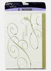 DDI - 8-Pack Hallmark Silver and White Bridal Shower Invitations (1 pack of 24 items)