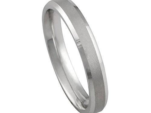 (Women's 14k White Gold Matte Finish Beveled Edge 3mm Comfort Fit Wedding Band Ring size 5.75)