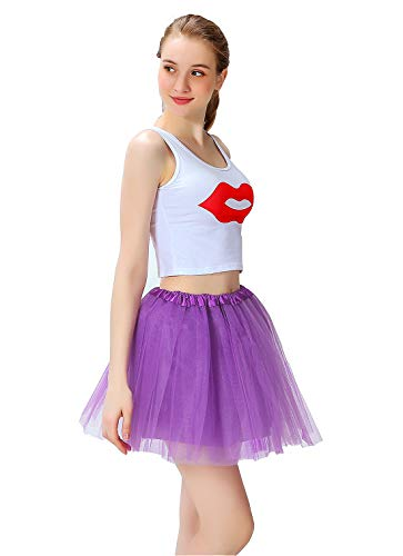 Women's Athletic Tutus Elastic 4 Layered Tulle Tutu Skirt | Colorful Running Skirts | One Size Fits Most -