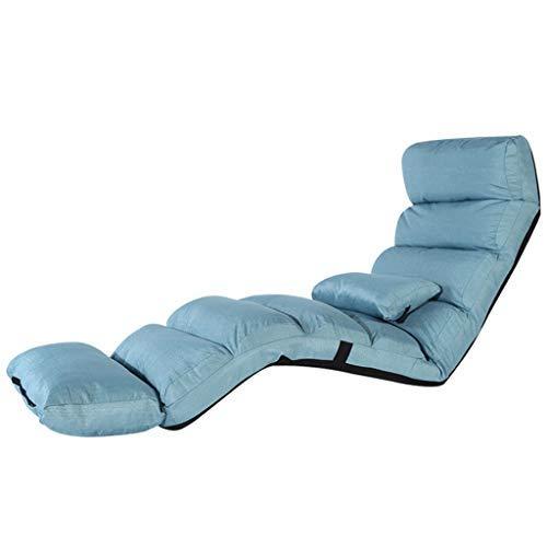 120KGに耐える怠惰なソファ折りたたみ式寝室のソファーベッドのリビングルームシングルチェアマルチスピード調節可能リクライニングチェアベイウィンドウレジャーリーディングチェア(カラー:ブルー、サイズ:205 * 54 cm) B07SSWCSV1