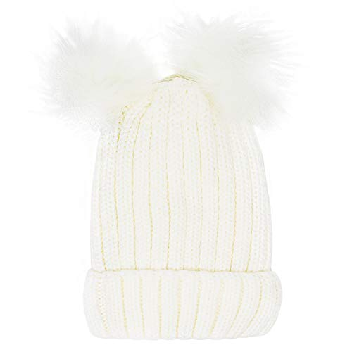 Me Plus Women's Winter Cable Knit Beanie Faux Double Pompom with Plush Lining ()