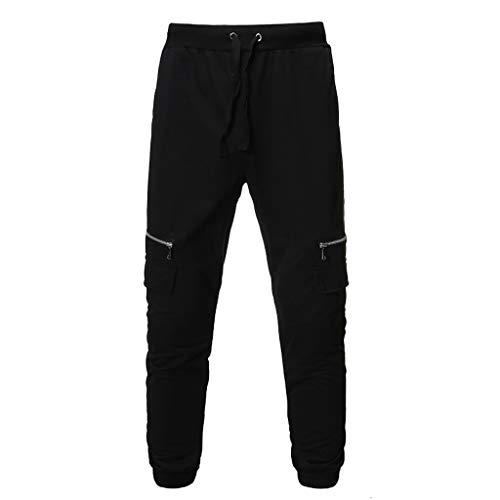 Men Zipper Pure Color Overalls Casual Pocket Sport Work Casual Trouser Pants, MmNote Black