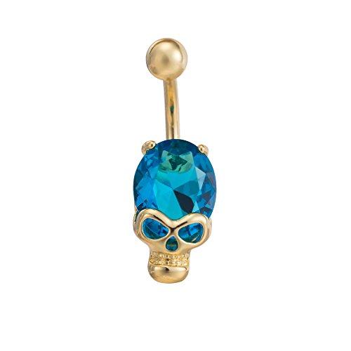 (HK BEST Skull CZ Women Navel Piercings Jewelry Gold Dangle Reverse Drop Body Piercing Belly Button Ring)