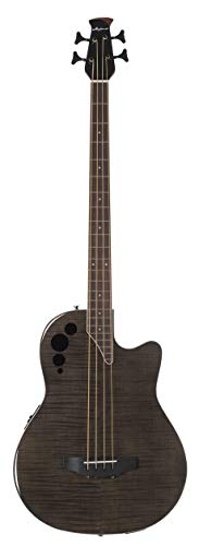 Ovation Applause 4 String Acoustic-Electric Bass Guitar, Right, Transparent Black Flame Maple (AEB4IIP-TBKF)