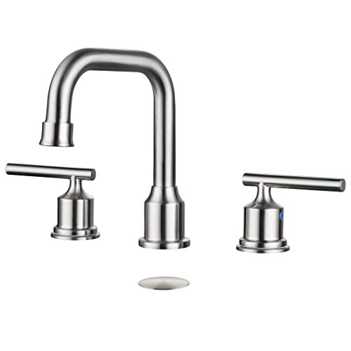 WOWOW 2 Handles 8 inch Widespread High Arc Bathroom Faucet Brushed Nickel Lavatory Faucet 3 Hole 360°Swivel Spout Modern Sink Basin - Inch Lavatory 8 Faucet Spout