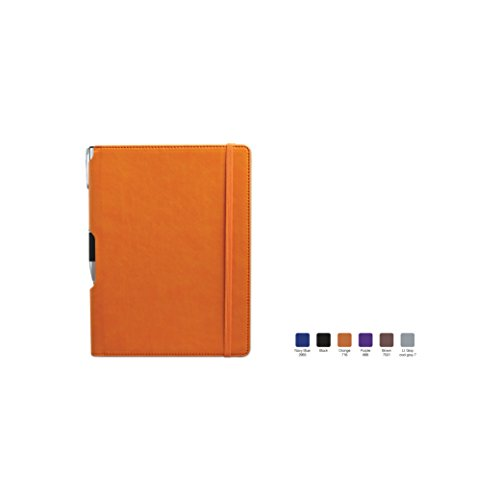 TEMPO Ruled, Hardcover Executive Notebook Journal with Premium Paper, 192 Lined Pages, Pen Holder in Spine, Perforated Sheets, Orange Cover, Size 7