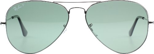 Ray-Ban AVIATOR LARGE METAL - SILVER Frame CRYS.POLAR GREEN SILVER MIRROR Lenses 58mm - Sunglasses Aviator Ban Silver Ray