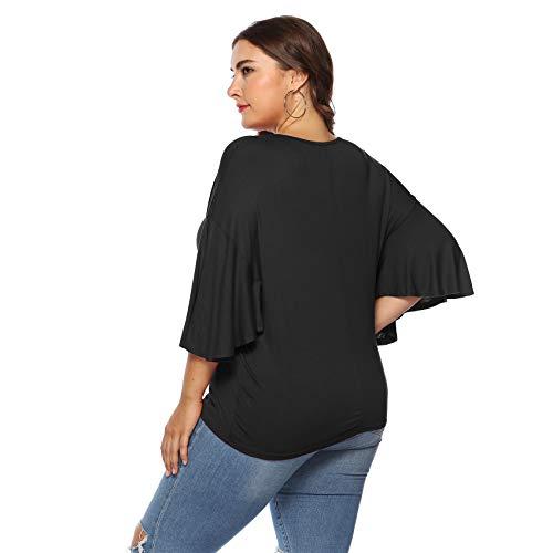 Maglietta Shirt Camicetta Superiore 4 Top comode Blusa Taglie Maniche Camicia Nero a a T a 3 Maniche Tee con Pipistrello Volant Fondo nqHaTA