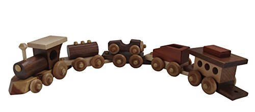 Amish Handcrafted 5 Piece Wooden Interlocking Toy Train Set Wood Sturdy Heirloom Piece Classic Handcrafted Wooden Toy Car