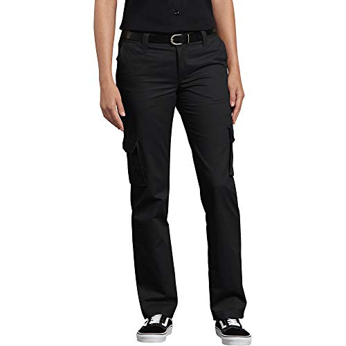 Dickies Women's Relaxed Fit Stretch Cargo Straight Leg Pant, Black, 12 ()