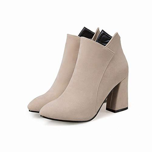 botas 33 Tacón Gruesas De E Escarchadas Botas Pulir Mujer Alto Individuales Occidentales Para Invierno Otoño Cálidas Martin Xe botas 43 Mujer botas x6H8YqYw