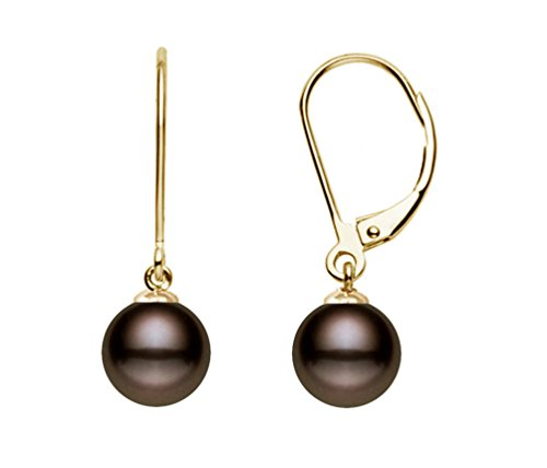 Gold Pearl Brown Fw (14k Yellow Gold AAAA Quality Classic Cocoa Freshwater Cultured Pearl Leverback Dangle Earrings (10-10.5mm))