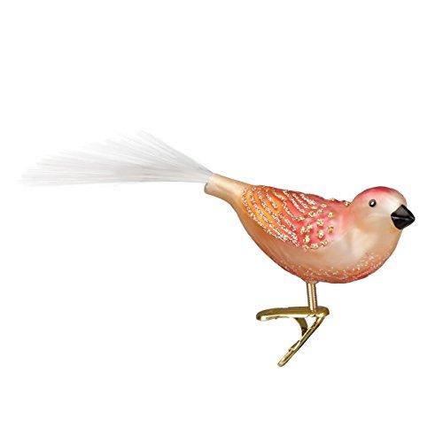 Songbird Christmas Tree Ornament - Old World Christmas Just Peachy Songbird Glass Blown Ornament