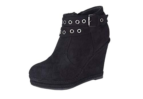 SHU CRAZY Womens Ladies Faux Suede Zip Up High Wedge Heel Platform Ankle Shoes Boots - Q81 Black