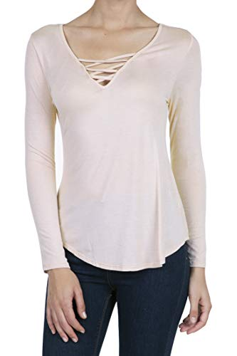 8053 Women's Casual Deep V-Neck Long Sleeve Criss Cross T-Shirt Blouse Tops Pale Dogwood XL