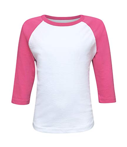 ILTEX Kids & Youth Baseball Raglan T-Shirt 3/4 Sleeve Infant Toddler Youth Athletic Jersey Sports Casual (20+ Colors) (6T, White/Hot Pink)