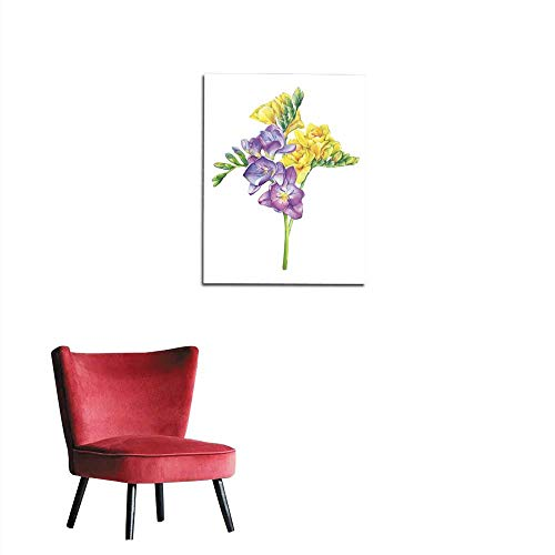 Wallpaper Bouquet of branches violet and yellow freesia flowers with buds (Perennial plant Freesia Serrada) Floral botanical picture Hand drawn watercolor painting illustration isolated mural 16
