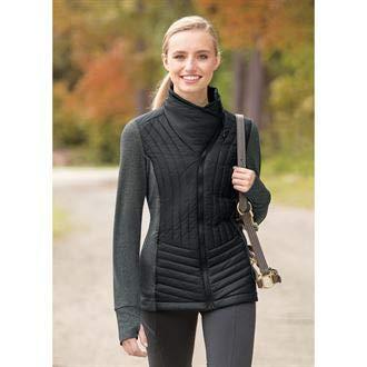 Jacket Saddlery - Dover Saddlery Ladies' Herringbone Quilted Jacket, Large, Black/Black