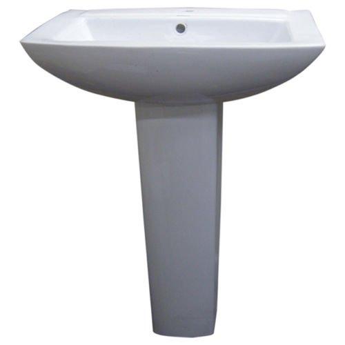 - Fine Fixtures MI2319W1 Modern Square Single Hole Ceramic Pedestal Sink, White